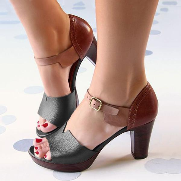 Upawear Chunky Heel Ankle Strap Elegant Shoes Working Daily Shoes