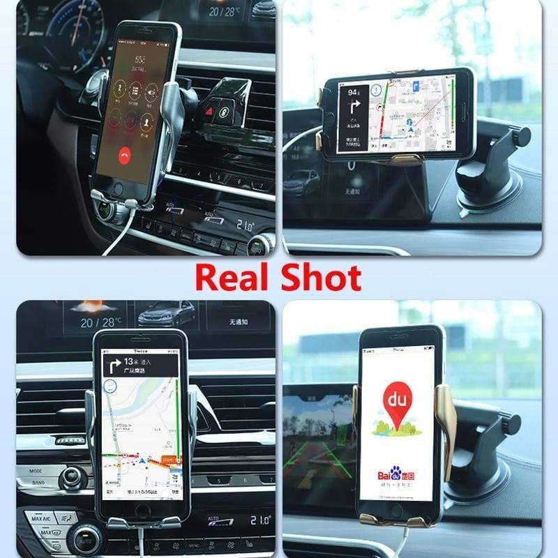 10W Qi Fast Wireless Charger Car Mount Automatic Clamping 360¡ø Rotation Phone Holder Charger for iPhone 11 Pro Max X Xs Xr 8plus 8 Samsung S10 S9 S8 S7 S6 Note 10 9 8 5