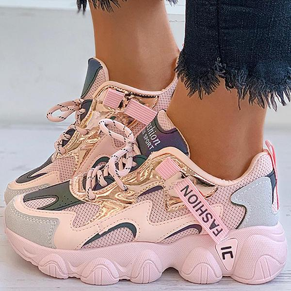 Mokoshoes Letter Pattern Colorblock Lace-Up Sneakers