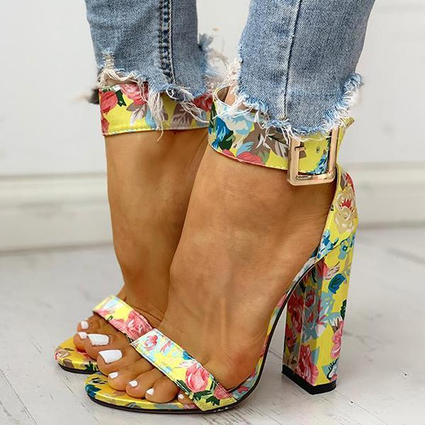 Mokoshoes Printing Ankle Buckled Chunky Heeled Sandals