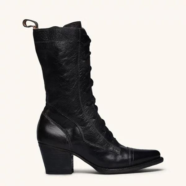 Mokoshoes Plus Size Viantage Leather Lace Up Chunky Heel Boots