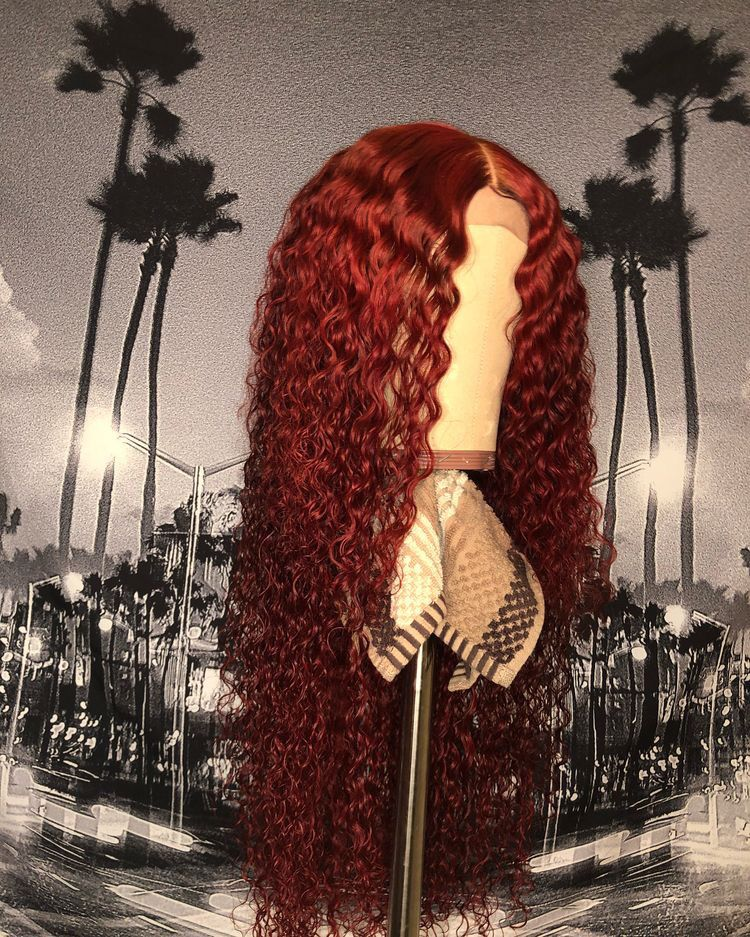 Lace Frontal Wigs Red Hair Wig Pink Curly Colored Wigs Medium Auburn Hair Short Haircuts For Girls Free Shipping
