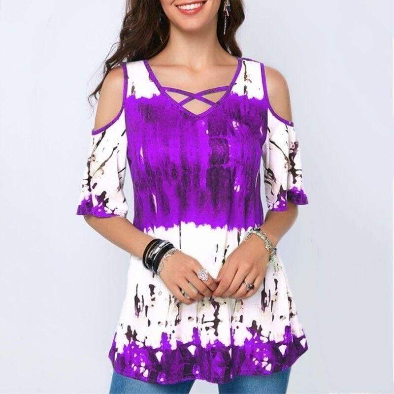 2020 Women Fashion Spring Summer Plus Size Tops Casual Short Sleeve T-shirts Ladies Loose Cotton Blouse Floral Printed Off Shoulder Shirts