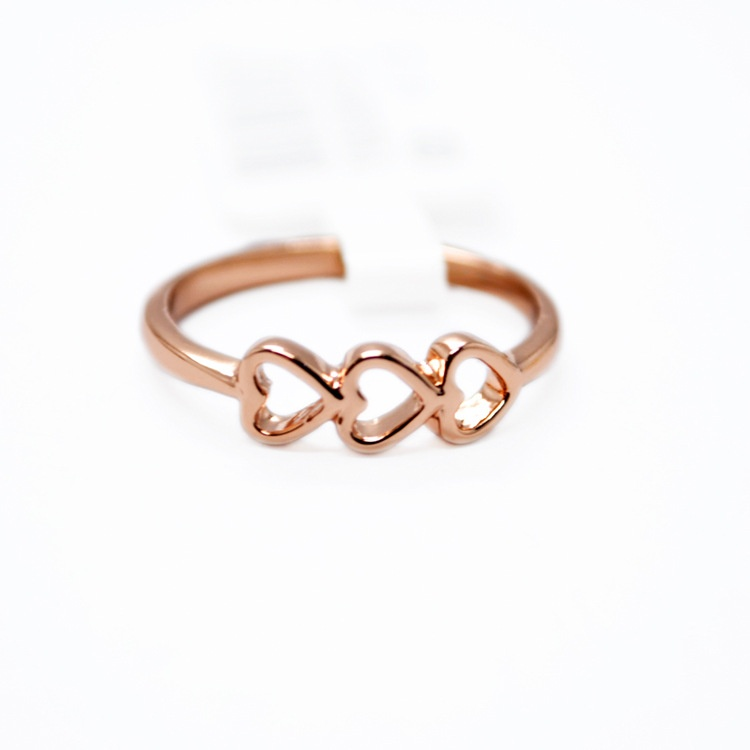 Simple Woman 925 Pure Silver Exquisite Love Hollow Heart Ring