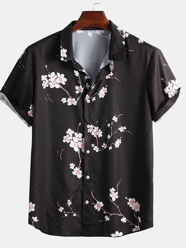 2020 Spring Summer Floral Print Short Sleeve Men's Vacation Shirt