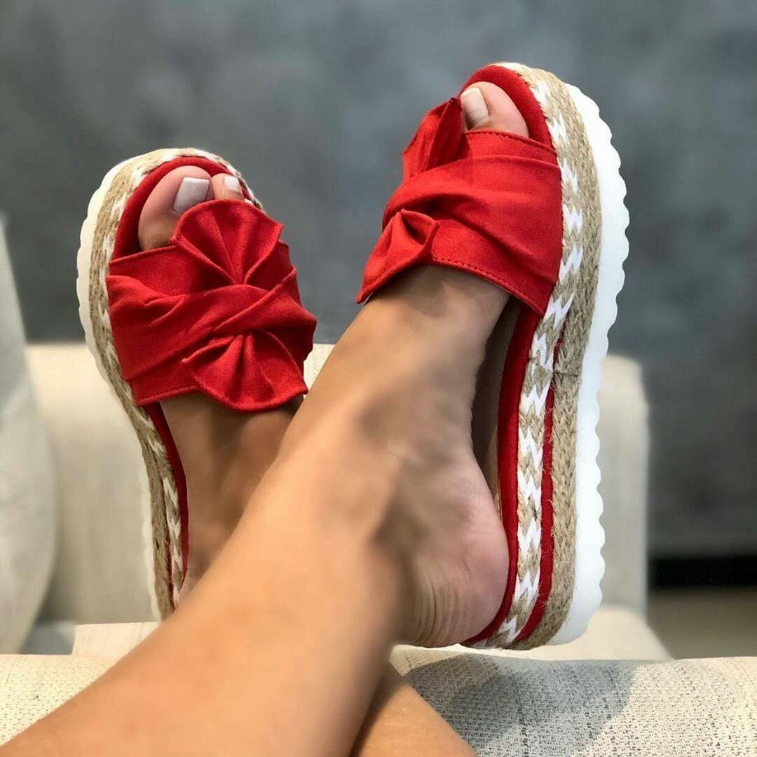 NEW 2020 Summer Women Casual Slip on Sandals Beach Shoes with Bow Female Open Toe Platform Slippers Daily Comfortable Flip Flops