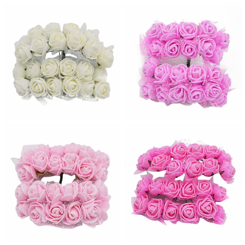 144pcs Mini Black Rose Flower Artificial PE Foam Flower Teddy Bear Rose for Home Wedding Decoration DIY Scrapbook Craft Love Rose