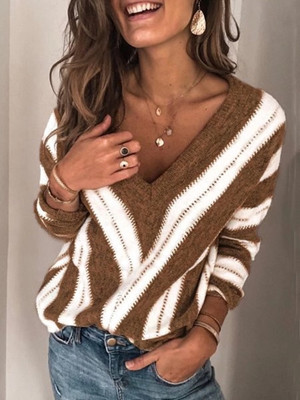Casual fashion striped long-sleeved V-neck loose pullover sweater