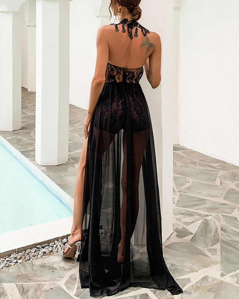 Lace Embroidery See-Through Evening Gown