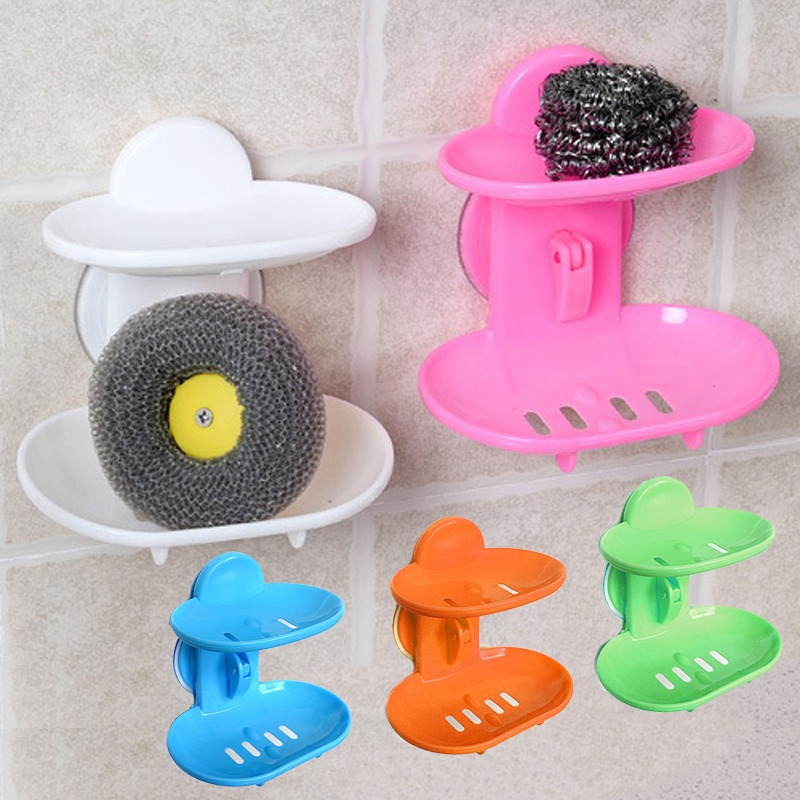 Fashion Dual-strong Suction Cup Soap Box Soap Dishes Bunk Water Bath Basket Soap Holder