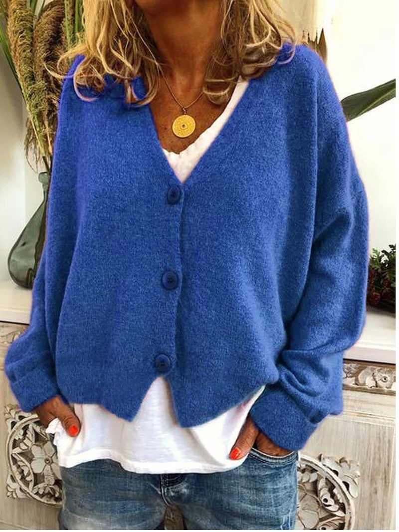 Women Fashion Button Solid Color Long Sleeve Loose Casual Knitted Cardigan Sweater Tops