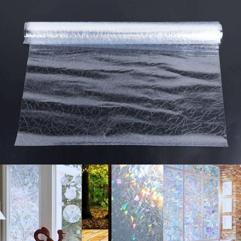 UV Protection 3D Window Film Decorative Rainbow Effect Under Sunshine Static Cling No Glue Frosted Glass Decal