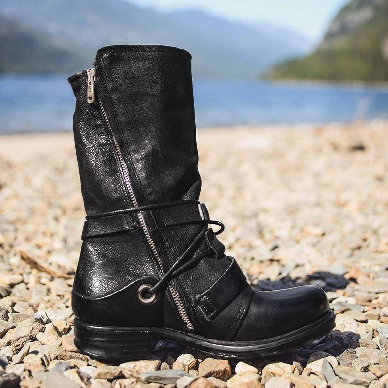 Women Individuality Lace Up Rivet Strap Buckle Zipper Boots