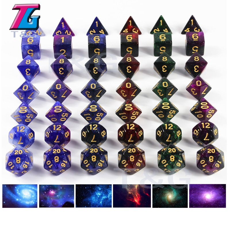 Galaxy Dice Set of D4-D20 for TRPG,DND