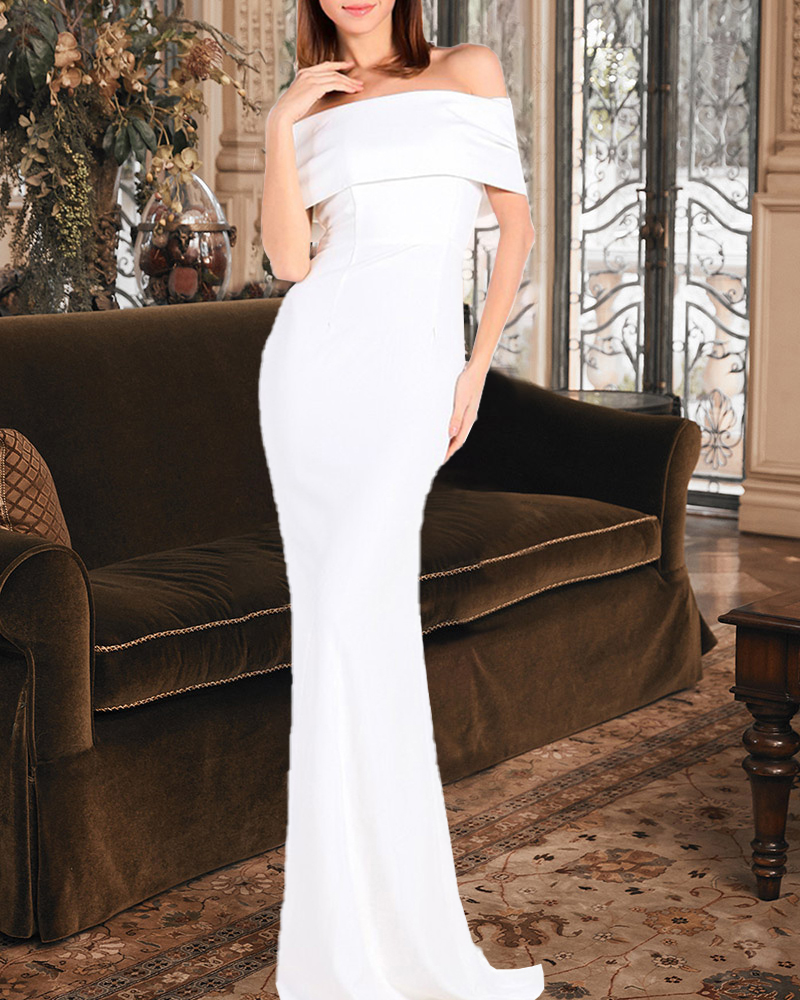 Behind Bowknot Off-The-Shoulder Evening Dress