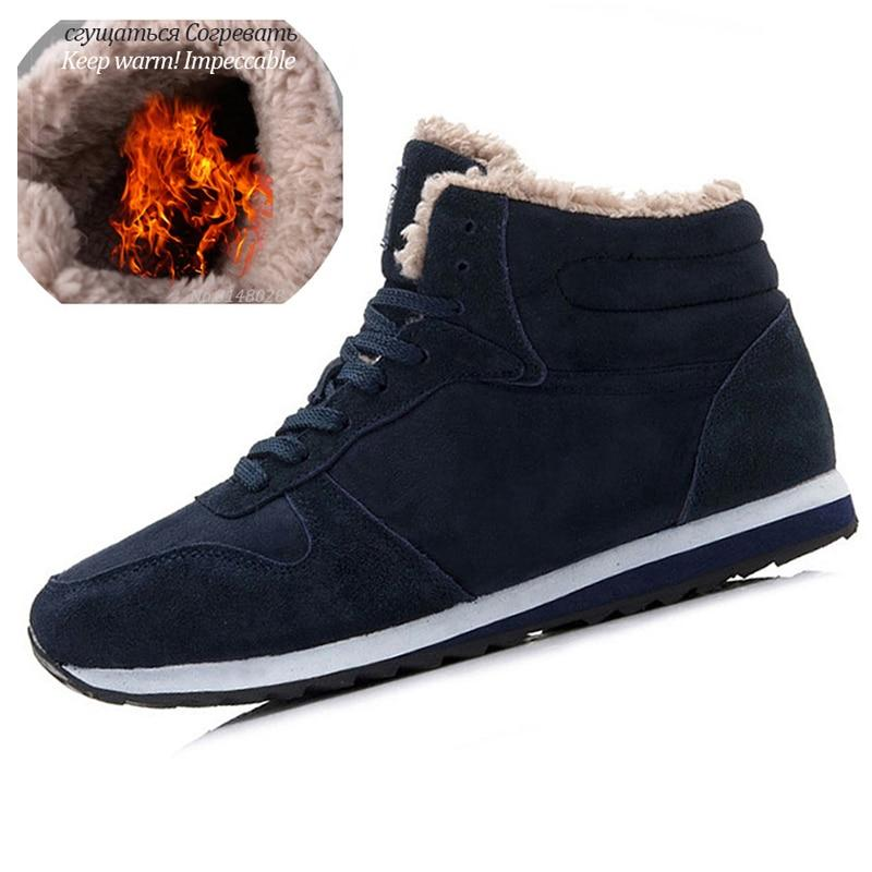 Mens fur lining winter shoes non slip lace-up ankle boots