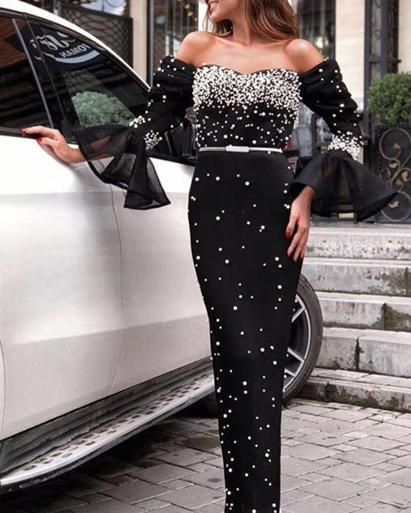 Pearl Strapless Bodycon Evening Dress