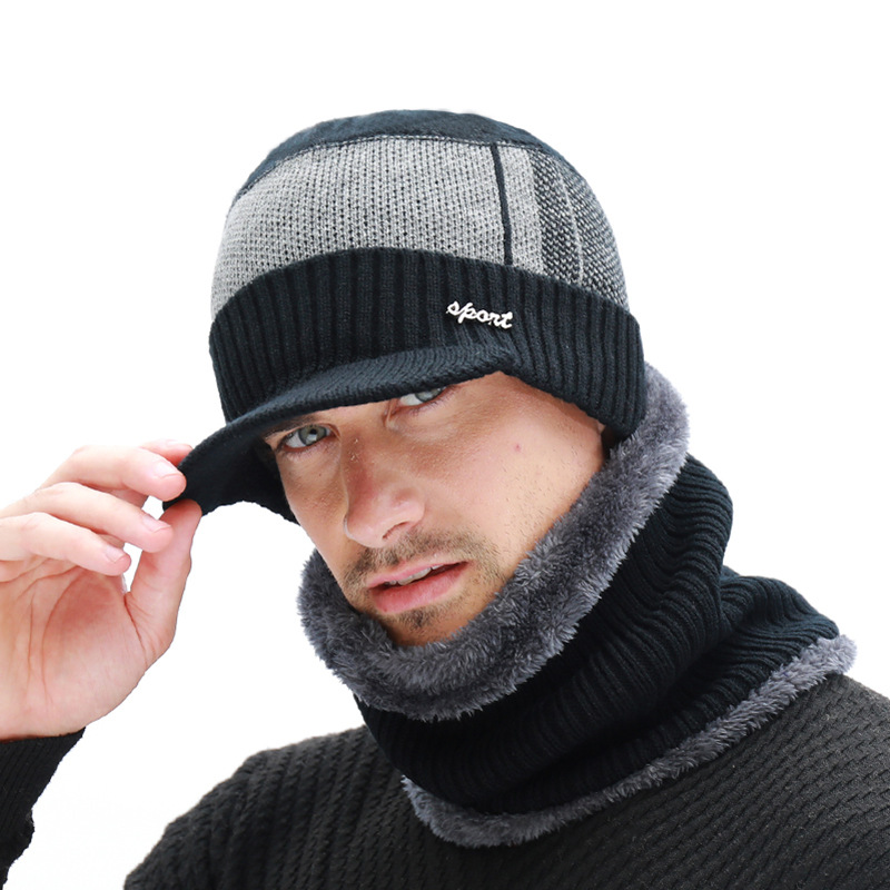 2020 Men's Winter Hat Skullies Wool Scarf Hat
