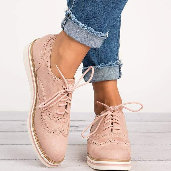 Twinklemoda Lace Up Perforated Oxfords Shoes