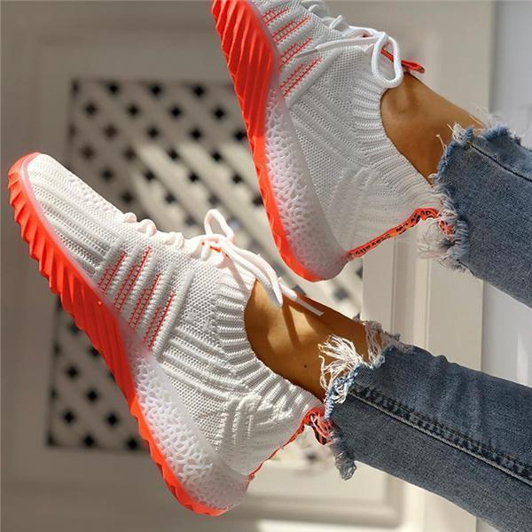 Upawear Colorblock Knitted Breathable Lace-Up Sneakers