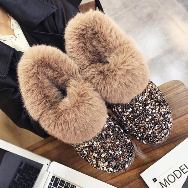 Faddishshoes Women Winter Warm Glitter Ankle Boots