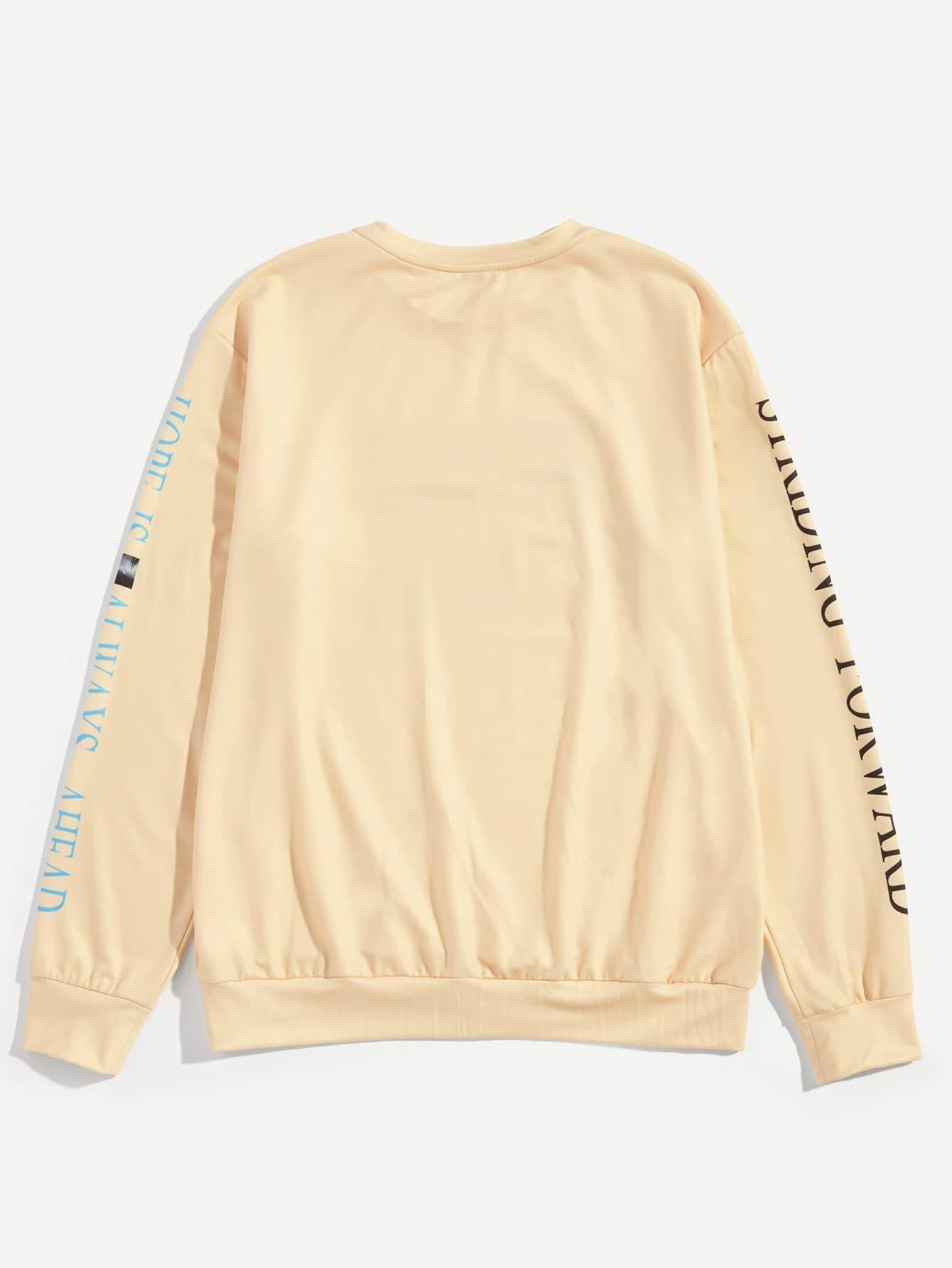 Men Crew Neck Letter and Figure Pullover