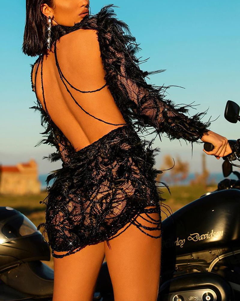 Solid Color Feather Long Sleeve Open Back Mini Dress