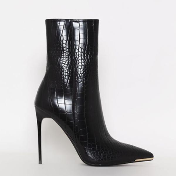 Upawear Stiletto Zipper Snake Print Pointed-Toe Boots