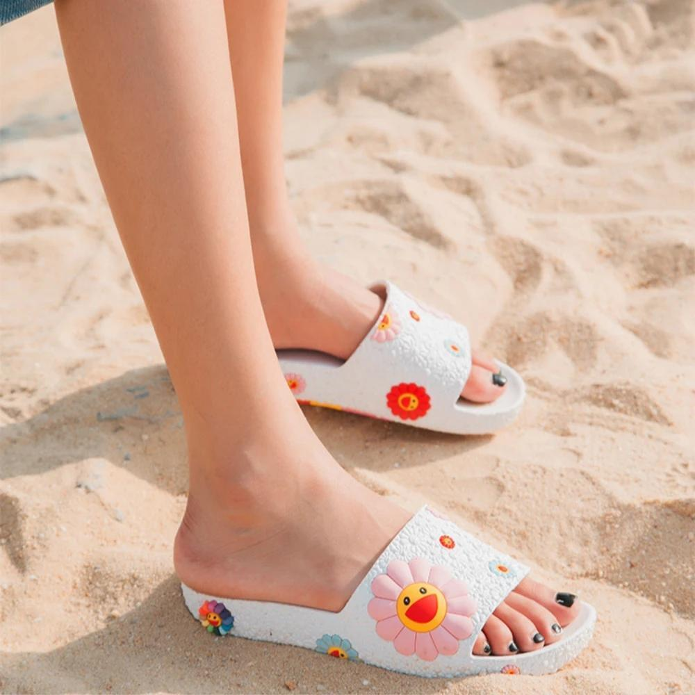 Twinklemoda Colorful Smile Sunflower Emblished Beach Slippers