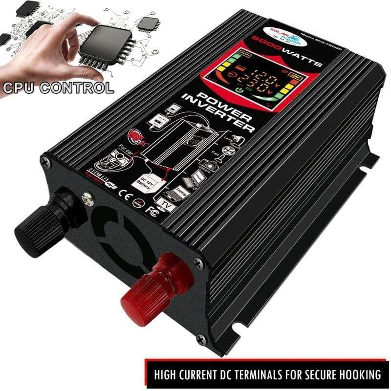 6000W Solar Power Inverter Built-in Cooling Fan Car Solar Inverter DC12V To AC110V / 220V Car Car Adapter USB Home Camping Outdoor Peak Power