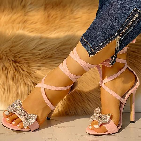 Mokoshoes Glitter Bow Crisscross Thin Heels