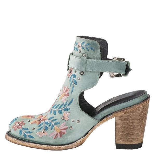 Upawear Vintage Floral Embroidery Round Toe Ankle Bootie