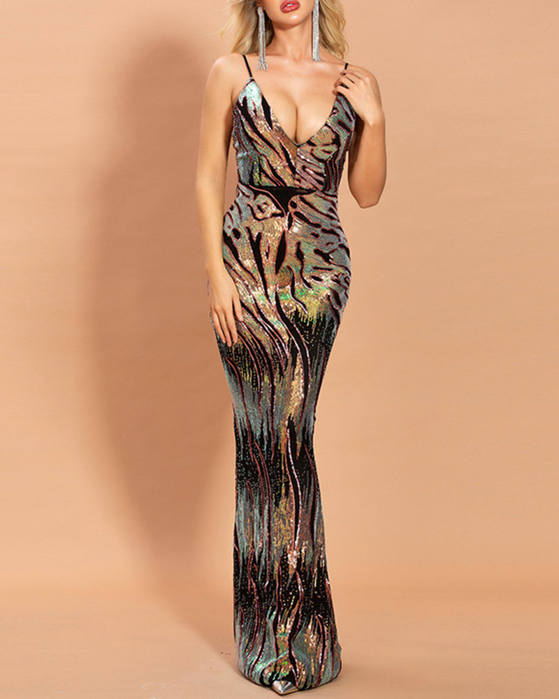 Fashion Sling Sequin Bodycon Evening Dress