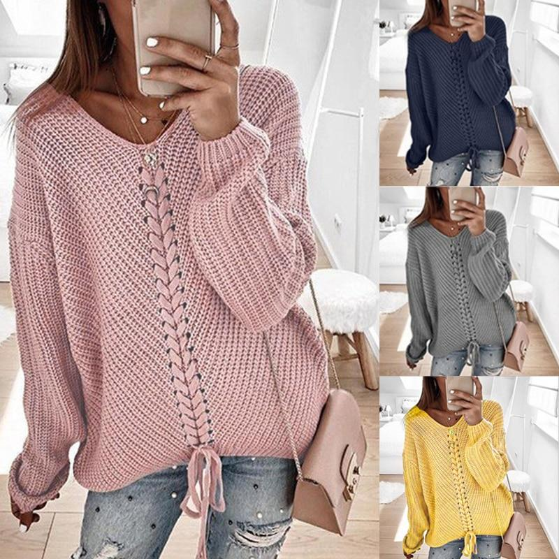 Women's cute v-neck pullover knitted sweater solid casual sweater