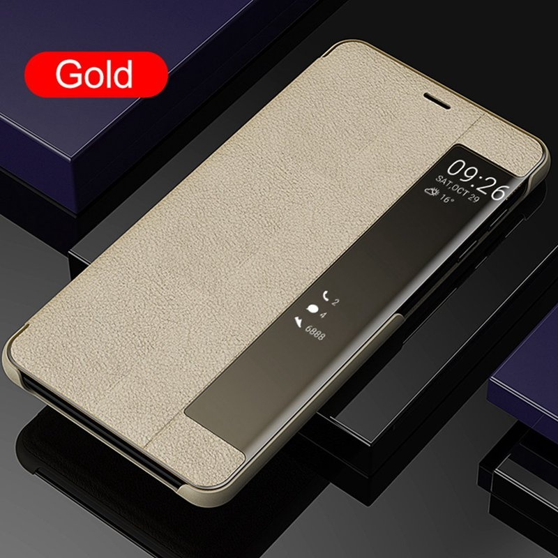 For Huawei P30 P30Pro P20 P20Pro P20Lite Mate20 Mate20Pro PU Leather Flip Cover Smart Window View Phone Cases For Samsung Galaxy Note10Pro Note10 S10 S10Plus S10e S9Plus S9 S8Plus S8 Note9 Note8 A7 2018 Etc