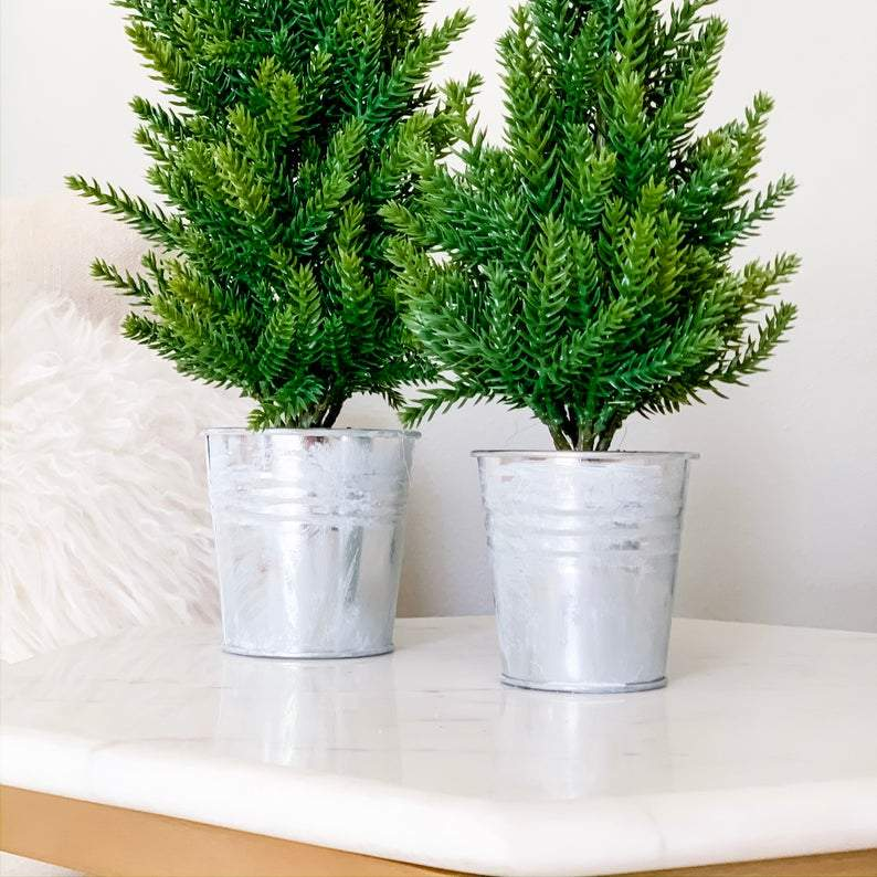 SET OF 2 Mini Christmas Trees in Frosty Silver Pots | Faux Winter Pine Trees for Mantel, Shelf, Coffee Table Centerpiece