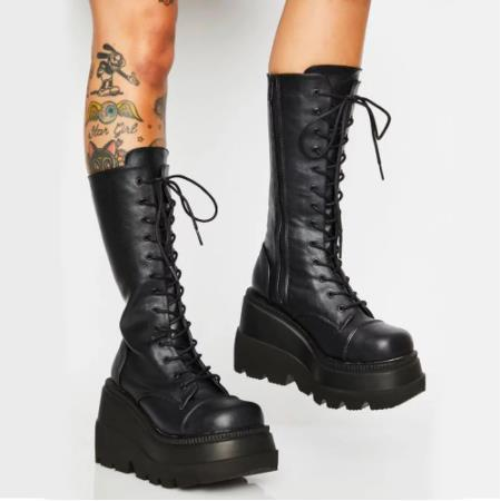 Brand New  Shoelaces Wedge High Heels Platform boots