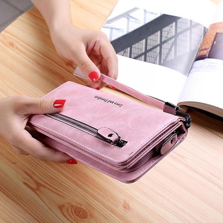 Women PU Leather 10 Card Slots Bifold Purse Wallet Cell Phone Pocket Bag