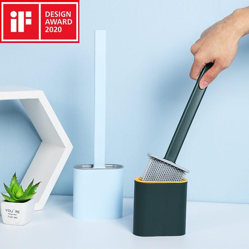 Revolutionary Silicone Flexible Toilet Brush With Holder