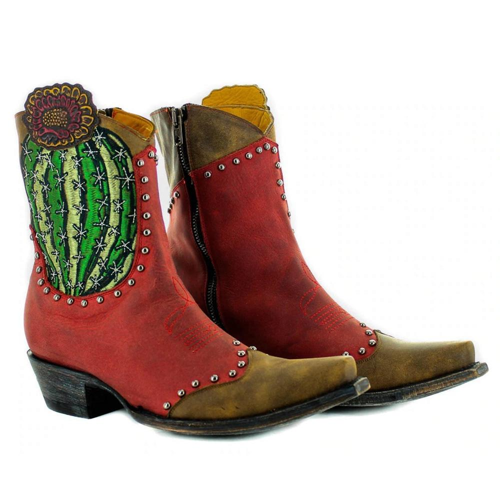 Women'S Cactus Embroidery Color Block Boots Western Boots