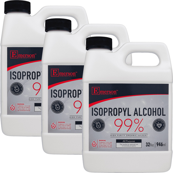 99% Isopropyl Rubbing Alcohol/ Alcohol Isopropilico - Three (3) 32 fl. oz. QUARTS (0.75 gallon)