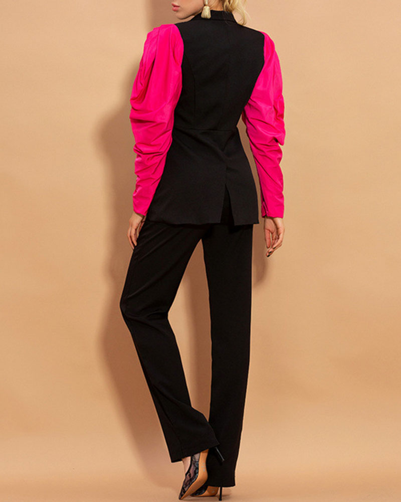 Stitching Contrast Color Flower Bud Sleeve Blazer Two-Piece Suit