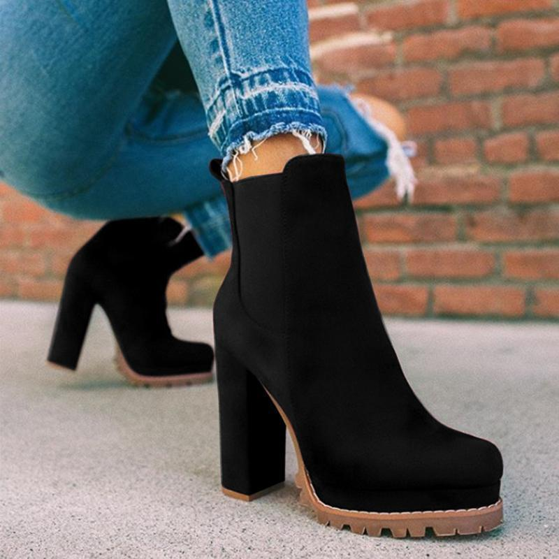 Faddishshoes Elastic Panel Slip On Chunky Heel Ankle Booties (Ship in 24 Hours)