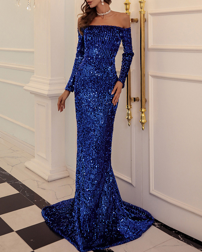Tube Top Long Sleeve Sequined Maxi Evening Dress