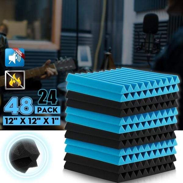 24/48PACK Acoustic Foam Wall Panels Soundproofing Sound Proofing Tiles Studio
