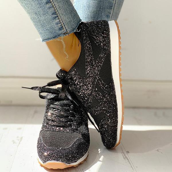 Mokoshoes Solid Sequins Lace-Up Sport Sneakers