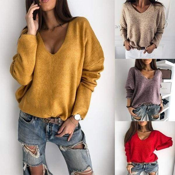 2019  Autumn Winter Women V-neck Solid Sweater Pullover Female Knitted Sweaters Jumper Casual Knitwear Pull Femme Jersey