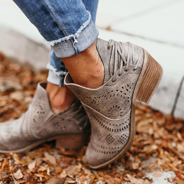 Upawear Laser Cutout Ankle Boots