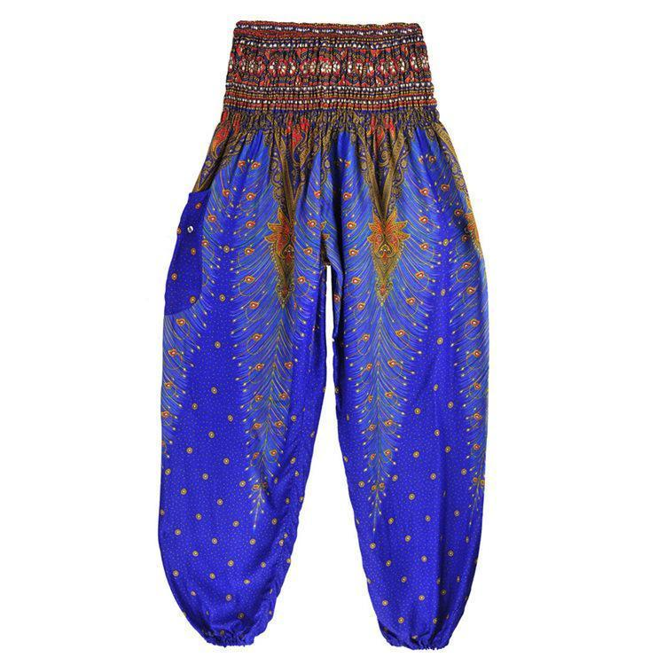 Boho Peacock Pocket Wide Leg Yoga Pants For Women