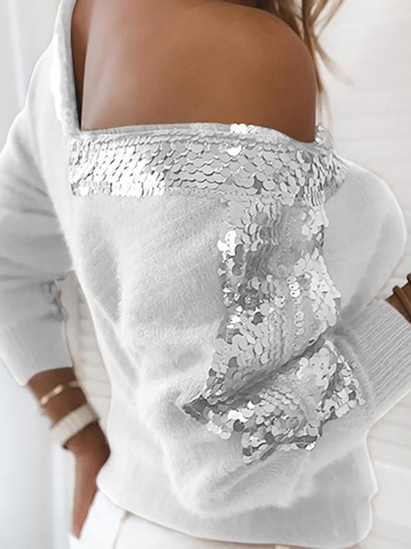Mokoshoes Sequins Fluffy Long Sleeve Sweater
